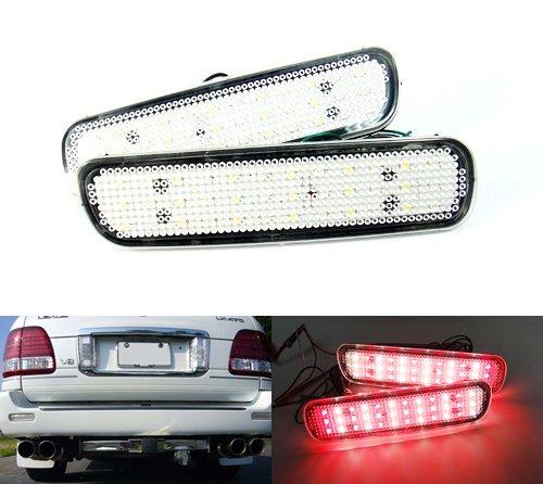 Lot de 2 réflecteurs de pare-chocs arrière à LED transparents pour Land Cruiser Amazon 100 Series LX470 1998-07