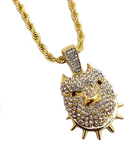 BLINGFACTORY Hip Hop Iced Lab Diamond Pitbull Dog Pendant 4mm 24 Rope Chain Necklace product image