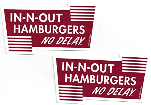 In N Out Burger No Delay Decals Stickers 4 Inches Long Size Set of 2