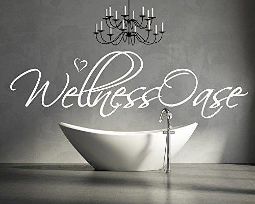 XL Wandtattoo für Ihr Badezimmer, Wohnzimmer, Bad 68045-110x28 cm~ Schriftzug: Wellness Oase ~ Wandaufkleber Aufkleber für die Wand, Fliesen, Tapetensticker aus Markenfolie, 32 Farben wählbar