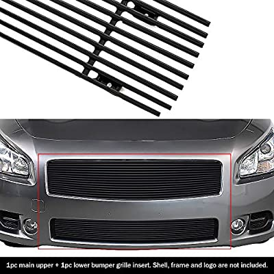 APS Compatible with 2009-2014 Maxima Black Billet Grille Grill Combo Insert N19-H47778N