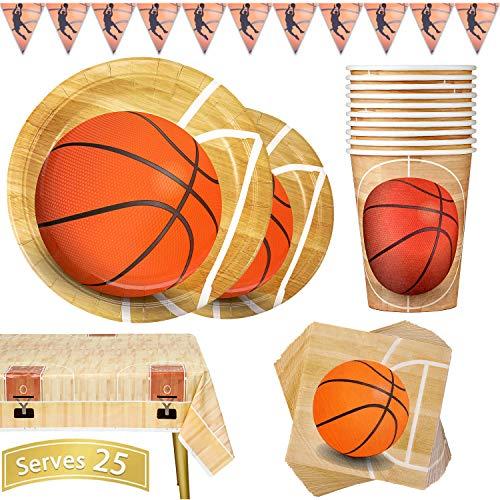 Duocute Basketball Partygeschirr 102 Stück Geburtstag Partyteller Sportthema Kindergeburtstag Geschirr Set Enthält Teller, Tassen, Servietten, Tischdecke und Banner, für 25 Gäste