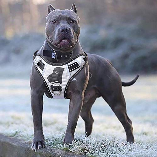 BABYLTRL Silver Big Dog Harness No-Pull Anti-Tear Adjustable Pet Harness Reflective Oxford Material Soft Vest for Medium Large Dogs Easy Control Harness (L, Silver)