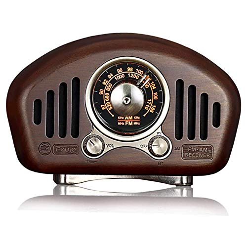 QAZ Radio de Madera Antigua, Radio portátil Am/FM, Altavoz Bluetooth 5.1, Ranura para Tarjeta TF y Reproductor de MP3, Mejora de Graves Fuertes, Volumen Alto,A