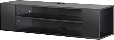 Floating TV Unit Cabinet Wall Mounted TV Shelf with 4 Storages for Living Room Entertainment Center Storage Compartment Ceramics Drilled Hangers