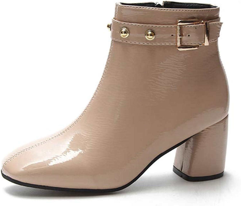 Zarbrina Women's Close Toe Buckle Strap Ankle Boots Fashion Retro Mid Block Heel Booties Sexy Round Toe Studded Rhinestone Short Plush Dress shoes