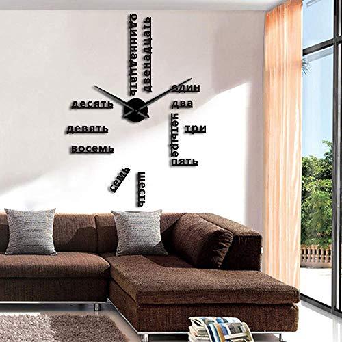 RRBOI Numéros DIY Géant Horloge Murale Langue Étrangère 3D Horloge Autocollant Mural Design Moderne Grande Horloge Maison 37inch (Noir)