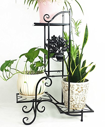 LHPHUAJIA Racks de Fleurs en Fer Salon de la simplicité européenne avec Balcon Trois Couches Pot à Fleurs Blanc, Noir et Bronze (Couleur : A, Taille : 57 * 79cm)