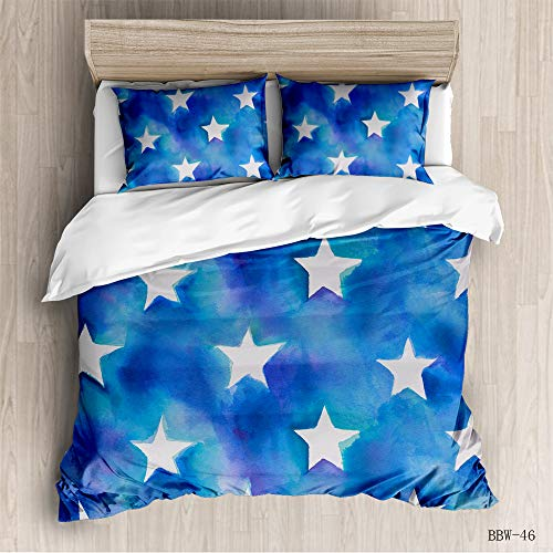N/D Fashion Ink Style Bedding 3 Piece Set With Classic Wood Pattern Simple Cover Quilt Cover And Pillow Case For Adults Home Textile 220x240cm blue