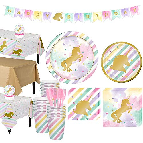 Check Out This ToyPlaya Kids Birthday Girls Birthday Compatible with Unicorn Party Supplies and Tableware, Sparkling Unicorn Tableware Party Kit for 24 Guests