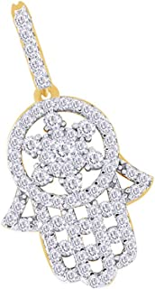 Christmas Holiday Sale 7/10 Carat Round Cut White Natural Diamond Iced Out Hip Hop Jewelry Hamsa Pendant 10k Solid Gold (0.7Ct)