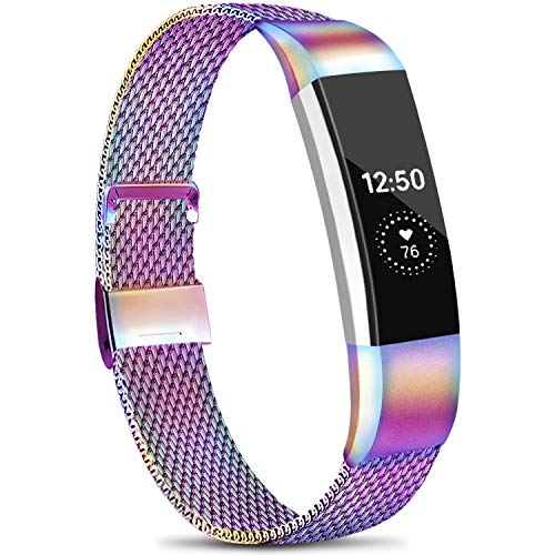 Meliya Metal Loop Bands Compatible with Fitbit Alta/Fitbit Alta HR, Stainless Steel Mesh Megnet Lock Replacement Wristbands for Women Men (Small, 03 Colorful)
