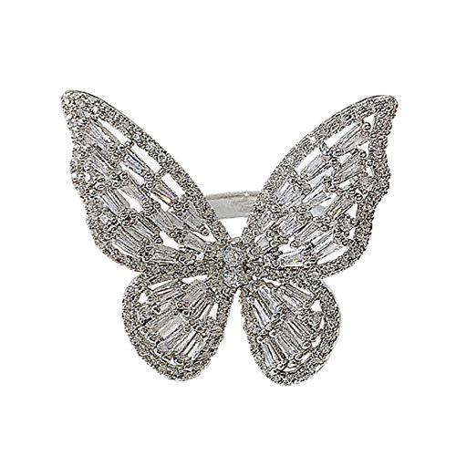 MAJFK Anillo de plata de ley para mujer, elegante, anillo de apertura de cristal de cobre, regalo ajustable para damas