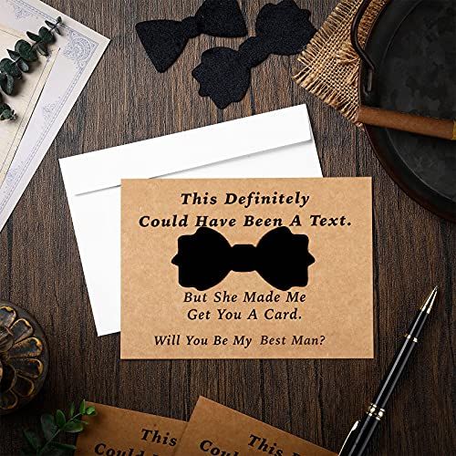 8 Pieces Groomsmen Proposal Cards with Tie and Envelope, 7 Will You Be My Groomsman Cards and 1 Will You Be My Best Man Asking Card Invitation Funny Groomsman Cards for Wedding, 7 x 5 Inch Photo #6