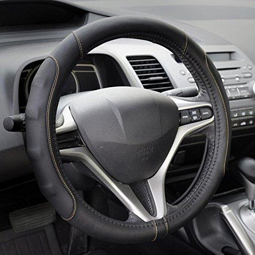 Motor Trend SW-761-BG-S__AM – Funda para volante de coche (cuero sintético), negro y beige, GripDrive…
