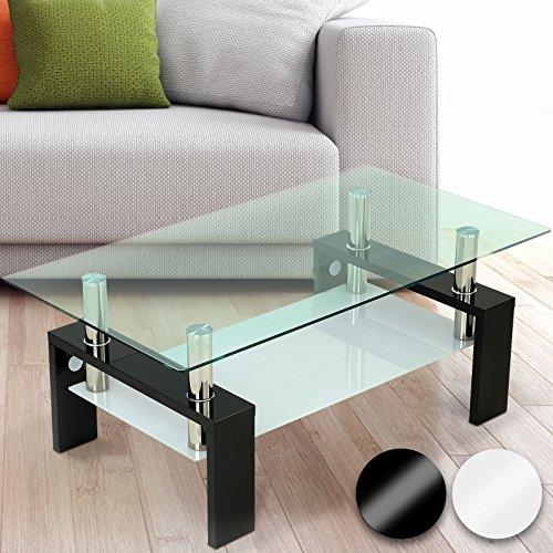 Miadomodo Tavolino da Salotto Moderno con Due lastre di Vetro Colore a Scelta
