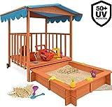 MaxxGarden Mobile Holz Sandkasten - Mit verstellbarem Dach und Bodenplane - 130 x 130 x 143cm
