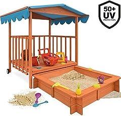 MaxxGarden Mobile Wood Sandbox - Med justerbart tak och golv presenning - 130 x 130 x 143cm