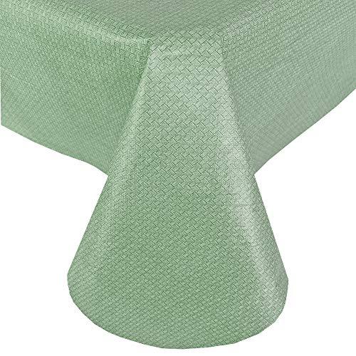 Newbridge Basketweave Mantel de vinilo de color sólido con respaldo de franela, aspecto de cesta con textura para interiores y exteriores, mantel impermeable, para patio y cocina, 60 x 84 pulgadas, ovalado, salvia