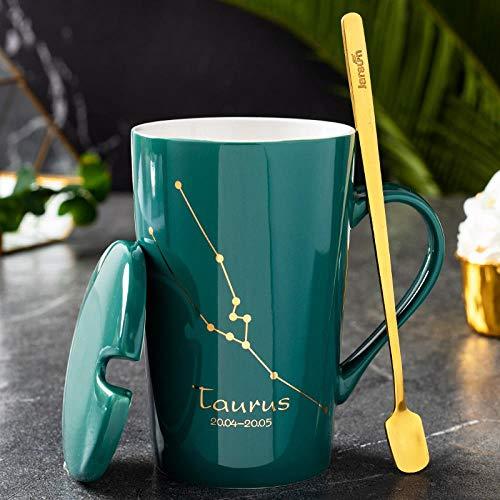 zhouhongchao Tasse en céramique créative 12 Tasses en céramique Couple Tasse à café personnalité d'affaires Tasse, Taurus - Vert foncé, 301-400ml