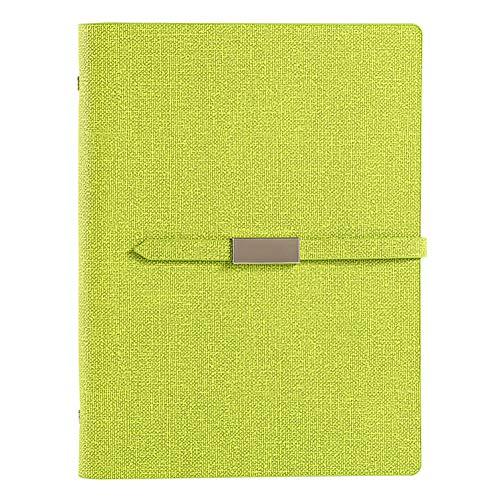 KingbeefLIU Cuaderno A5 Carpeta De 6 Anillas Diario De Escritura Cubierta De Piel Sintética Cuaderno Diario De Viaje Regalo Pasto Verde