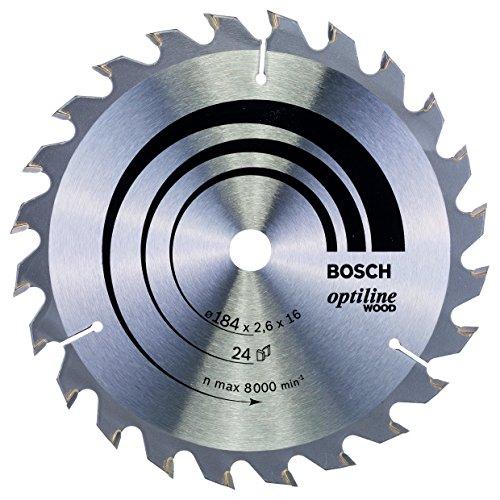 Bosch Lame de Scie Circulaire, 24 Dents, 16mm d'Alésage, 2.6mm Largeur de Coupe, 1.6mm Épaisseur du Corps, 184mm Diamètre