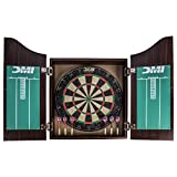 DMI Sports Deluxe Bristle Dartboard Cabinet Set with Electronic Scorer Includes 2 Dart Sets and a Chalk Scoreboard – Light Oak