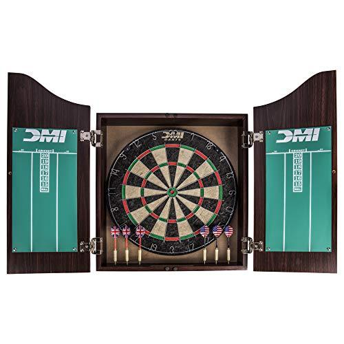 DMI Sports Deluxe Bristle Dartboard Cabinet Set Includes Two Steel Dart Sets...