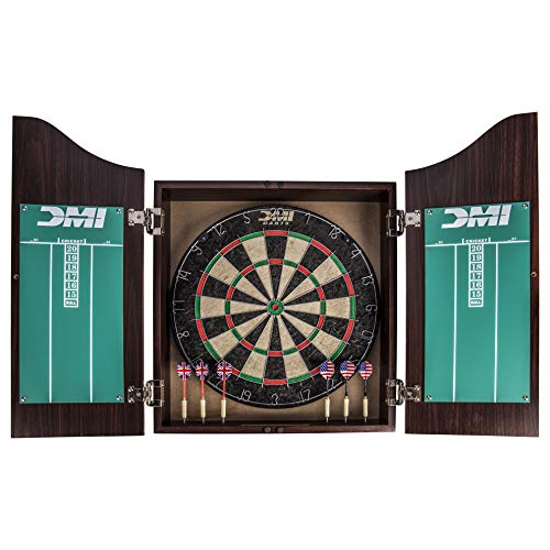 DMI Sports Deluxe Bristle Dartboard Cabinet Set Includes Two Steel Dart Sets with Rustic Rosewood Finish
