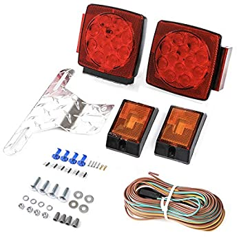 CZC AUTO 12V LED Submersible Trailer Tail Light Kit for Under 80 Inch Boat Trailer Marine with 18G Pure Copper Wiring Harness Kit  Exclusive Trailer Light kit
