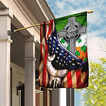 Flags-Irish Celtic Knot Christian Cross Flag THN2076F2 House Flag  29.5  x 39.5  -USA House Garden Flags Premium Polyester-Decorative Outdoor Flags