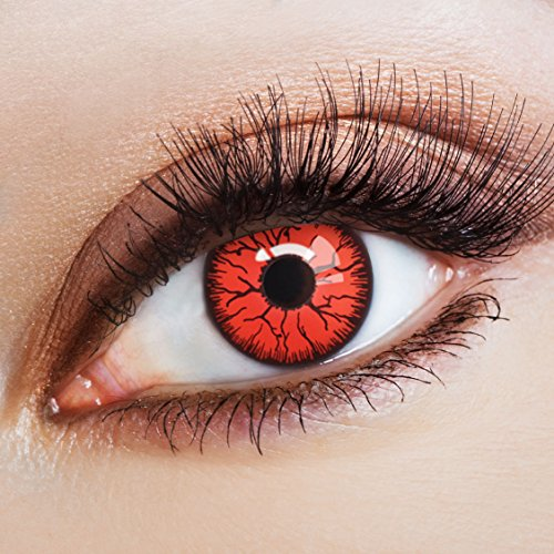 aricona Kontaktlinsen Farblinsen - Rote Jahreslinsen ohne Stärke - Halloween Kontaktlinsen farbig ohne Stärke
