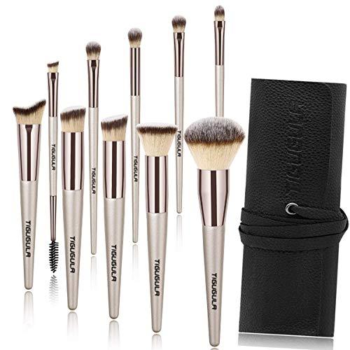 Makeup Brushes - 10 Pcs Professional Makeup Brush Set Premium Synthetic Brush Foundation Brush Powder Concealer Lip Face Eyeshadow Makeup Brush Kit Champagne Gold with Black PU Leather Roll Bag