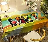 Mantel de Dibujos Animados,Patrón De Anime Fibra De Poliéster Impresión Digital A Prueba De Aceite Lavable No Se Decolora Se Puede Limpiar para El Color De La Foto 130 Cm * 130 Cm