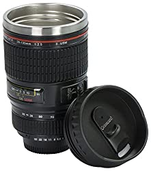 Grinscard Kaffeebecher Drink & Go Deckel - Schwarz Kameraobjektiv Design 0,35l - Gadget Thermotasse für Unterwegs