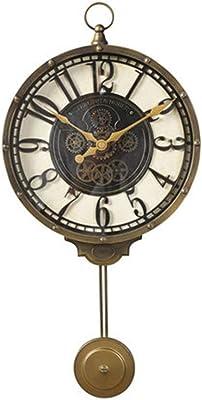 掛け時計 時計ホームデコレーションクロックリビングルームクリエイティブウォールクロックヨーロッパレストランベッドルームクロック超静音振り子時計ギフト (Color : Brown, Size : 57*27cm)