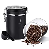 SOUL HAND Soulhand Kaffeebehälter Luftdichter Kaffeebehälter Einzigartiger 650-ml-Lebensmittelbehälter aus Glas mit CO2-Überdruckventil und Datumsverfolgung hält den Kaffeesatz frisch