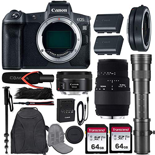 Canon EOS R Mirrorless Camera w/Extra Canon LP-E6N Battery Pack + 3 Lens Kit (EF 50mm f/1.8 STM + 70-300mm f/4-5.6 DG Macro + 420-800mm Zoom) + Mount Adapter + Pro Accessory Bundle