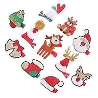 PIXNOR 11Pcsクリスマス小さなヘアピン漫画キラキラサンタエルクツリーベルハットパターンヘアクリップホリデー帽子ヘアアクセサリー女の子の子供のための写真の小道具