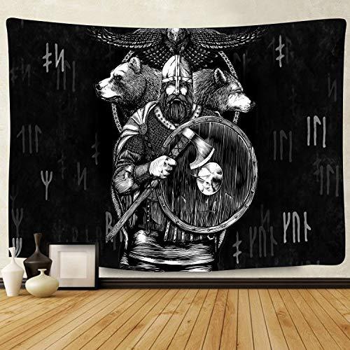 F-FUN SOUL Wikinger-Wandteppich, groß, 203,2 x 152,4 cm, weiches Flanell, Wikinger-Dekor, Brave Nordic Pirat, Wolf, Adler, Wandbehang für Wohnzimmer, Schlafzimmer, Dekoration, GTLSFS10