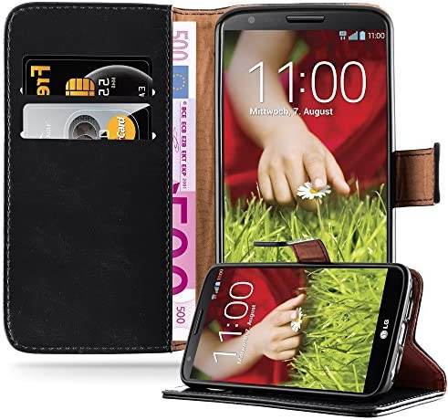 Cadorabo Book Case Compatible with LG G2 in Graphite Black with Magnetic Closure Stand Function product image