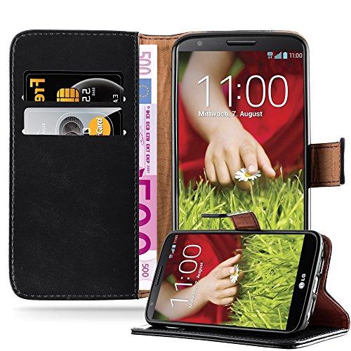 Cadorabo Hülle für LG G2 in Graphit SCHWARZ – Handyhülle mit Magnetverschluss, Standfunktion & Kartenfach – Hülle Cover Schutzhülle Etui Tasche Book Klapp Style