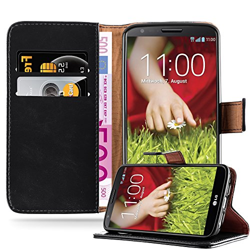 Cadorabo Hülle für LG G2 - Hülle in Graphit SCHWARZ – Handyhülle im Luxury Design mit Kartenfach & Standfunktion - Hülle Cover Schutzhülle Etui Tasche Book