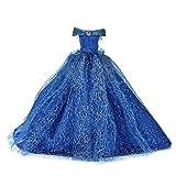 Yisily Ropa De Muñecas Vestido De La Muñeca De La Manera Elegante Estilo De Boda Que Arrastra El Vestido Formal del Vestido De Partido Hecho a Mano De La Muñeca De Juguete Muñecas (Azul)
