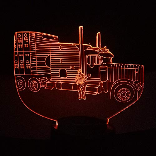 DFDLNL Coche 3D Illusion LED Tractor Luz Nocturna USB/AA Batería Fuente de alimentación Lámpara de Mesa Colorido Estado de ánimo Iluminación Niños Cumpleaños Parte Decoración