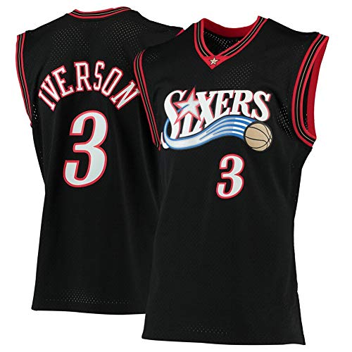 Basketball Jersey #3 Allen Iverson Camiseta de Jugador de Baloncesto para Hombres, Camiseta fanáticos, Chaleco Transpirable Deportivas de Jersey Swingman,3 Black,S