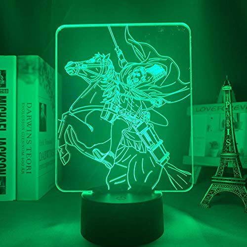 Lámpara LED de Anime 3D Attack On Titan Erwin Smith Lámpara de noche 3D para decoración de dormitorio Niños Attack On Titan Luz LED Erwin-16_Color_With_Remote