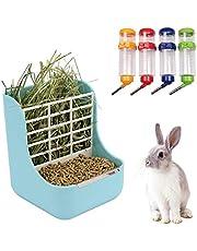 N\O Heiqlay 1 Alimentador de Heno para Conejo, 1 Bebederos para Conejos, Comedero para Conejos, Portátil Menos Desperdiciado para Conejos, Cobayas, Chinchilla, Dispensador de Alimentos De Plástico