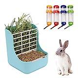 NO Heiqlay 1 Alimentador de Heno para Conejo, 1 Bebederos para Conejos, Comedero para Conejos, Portátil Menos Desperdiciado para Conejos, Cobayas, Chinchilla, Dispensador de Alimentos De Plástico