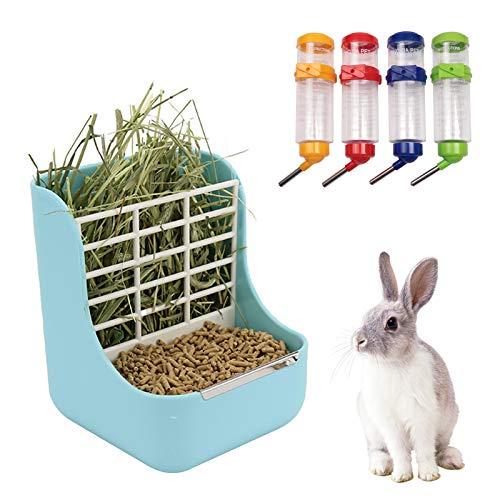 N\\O Heiqlay 1 Alimentador de Heno para Conejo, 1 Bebederos para Conejos, Comedero para Conejos, Portátil Menos Desperdiciado para Conejos, Cobayas, Chinchilla, Dispensador de Alimentos De Plástico